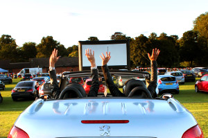 image of car and big screen