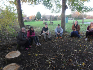 image of students and the outdoor classroom